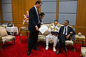 United States President Barack Obama is briefed by Trip Director Marvin Nicholson, Lead Advance Mike Brush, and Military Aide LCDR Scott Phy at Siriraj Hospital in Bangkok, Thailand, November 18, 2012. .Mandatory Credit: Pete Souza - White House via CNP