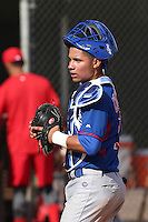 Wilson Contreras of the Chicago Cubs during a Minor League Spring Training Game against the Los Angeles Angels at the Los Angeles Angels Spring Training Complex on March 23, 2014 in Tempe, Arizona. (Larry Goren/Four Seam Images)