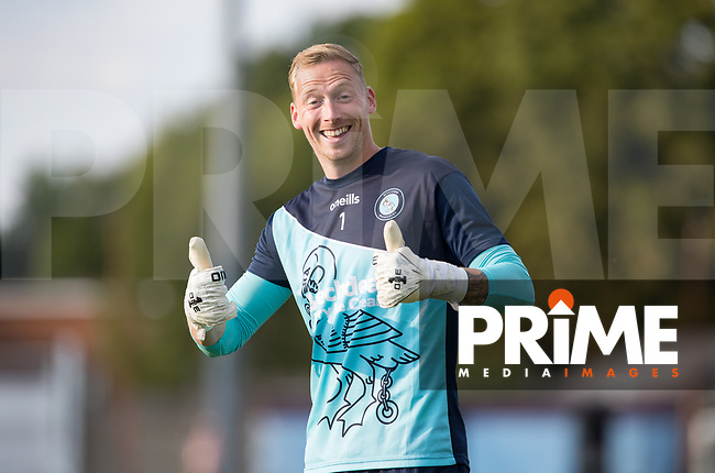 Goalkeeper Ryan Allsop of Wycombe Wanderers pre match during the 2018/19 Pre Season Friendly match between Chesham United and Wycombe Wanderers at the Meadow , Chesham, England on 24 July 2018. Photo by Andy Rowland.
