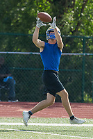 NWA Democrat-Gazette/BEN GOFF @NWABENGOFF<br /> Gabe Huskey, Harrison running back, makes a touchdown catch vs Rogers Thursday, July 11, 2019, during the Border Battle 7-on-7 Tournament, in partnership with the Pro Football Hall of Fame Scholastic 7v7 series, at Branson (Mo.) High School's Pirates Stadium.
