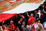 Liverpool fans help along a giant flag during the English Premier League match at Anfield Stadium, Liverpool. Picture date: May 7th 2017. Pic credit should read: Simon Bellis/Sportimage