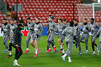 10th March 2020; Anfield, Liverpool, Merseyside, England; UEFA Champions League, Liverpool versus Atletico Madrid, Atletico training; The Atletico Madrid squad warm up during today's open training session at Anfield ahead of tomorrow's Champions League match against Liverpool