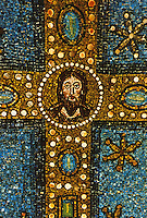 Ravenna: Basilica of Sant' Apollinare, Classe. Mosaic with figure of Christ at center of the Cross.