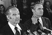 United States Senator George McGovern (Democrat of South Dakota), left, the 1972 Democratic Party nominee for President of the United States and his running mate U.S. Senator Thomas F. Eagleton (Democrat of Missouri) announce Eagleton is withdrawing as a candidate for Vice President  on Monday, July 31, 1972..Credit: Arnie Sachs / CNP