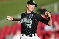 Greg Billo (15) of the Kane County Cougars during a game against the Clinton LumberKings at Elfstrom Stadium on April 23, 2011 in Geneva, Illinois. Photo by Chris Proctor/Four Seam Images