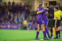 Orlando, FL - Saturday August 12, 2017: Dani Weatherholt, Maddy Evans during a regular season National Women's Soccer League (NWSL) match between the Orlando Pride and Sky Blue FC at Orlando City Stadium.