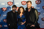 Dave Haywood, Hillary Scott, and Charles Kelley of Lady Antebellum arrive at the American Country Awards 2013 at the Mandalay Bay Resort & Casino in Las Vegas, Nevada