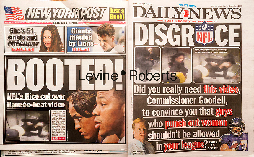Front pages on Tuesday, September 9, 2014 of the New York Daily News and the New York Post report on the National Football League's banning of former Baltimore Ravens pro football player Ray Rice for knocking out his then fiancée Janay Palmer in an act of domestic violence in an elevator in Atlantic City, NJ. Elevator security footage surfaced of the act prompting the NFL to ban him as opposed to the two game suspension he was originally given. (© Richard B. Levine)