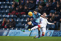 Sam Wood of Wycombe Wanderers battles Josh Payne of Crawley Town during the Sky Bet League 2 match between Wycombe Wanderers and Crawley Town at Adams Park, High Wycombe, England on 25 February 2017. Photo by Andy Rowland / PRiME Media Images.