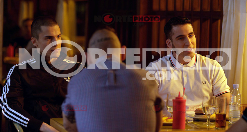 """Miguel Angel Silvestre, Alex Gonzalez, Carlos Bardem y Javier Bardem interpretan durante el rodaje de 'Alacran Enamorado' ------------------------------Miguel Angel Silvestre, Alex Gonzalez, Carlos Bardem and Javier Bardem perform during the filming of 'Alacran Enamorado"""""""