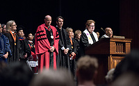The Rev. Dr. Susan E. Young. The class of 2021 are welcomed to Occidental College by trustees, faculty and staff in Thorne Hall on Aug. 29, 2017 during Oxy's 130th Convocation ceremony, a tradition that formally marks the start of the academic year and welcomes the new class.<br /> (Photo by Marc Campos, Occidental College Photographer)