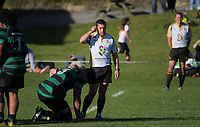 Action from the Wellington Swindale Shield premier club rugby match between Wainuiomata and Paremata Plimmerton at William Jones Park in Wellington, New Zealand on Wednesday, 25 April 2018. Photo: Dave Lintott / lintottphoto.co.nz