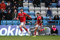 Kieffer Moore celebrates scoring Barnsley's opening goal during Gillingham vs Barnsley, Sky Bet EFL League 1 Football at The Medway Priestfield Stadium on 9th February 2019