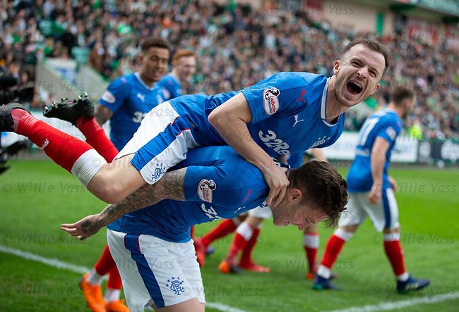 13.05.2018 Hibs v Rangers: Andy Halliday celebrates with Josh Windass