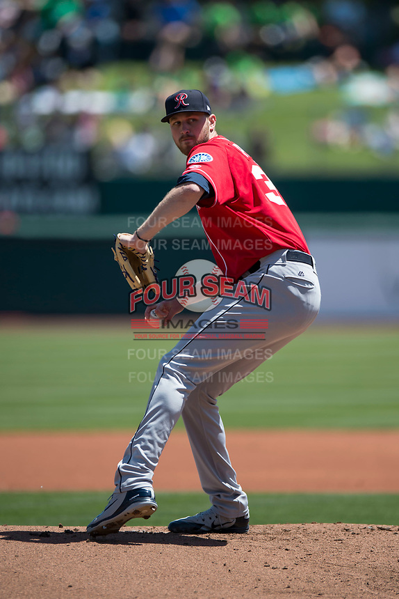 Tacoma Rainiers starting pitcher Max Povse (36) delivers a pitch to the plate during a Pacific Coast League against the Sacramento RiverCats at Raley Field on May 15, 2018 in Sacramento, California. Tacoma defeated Sacramento 8-5. (Zachary Lucy/Four Seam Images)