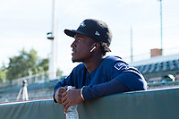 Peoria Javelinas shortstop Lucius Fox (5), of the Tampa Bay Rays organization, in the dugout before the Arizona Fall League Championship game against the Salt River Rafters at Scottsdale Stadium on November 17, 2018 in Scottsdale, Arizona. Peoria defeated Salt River 3-2 in 10 innings. (Zachary Lucy/Four Seam Images)