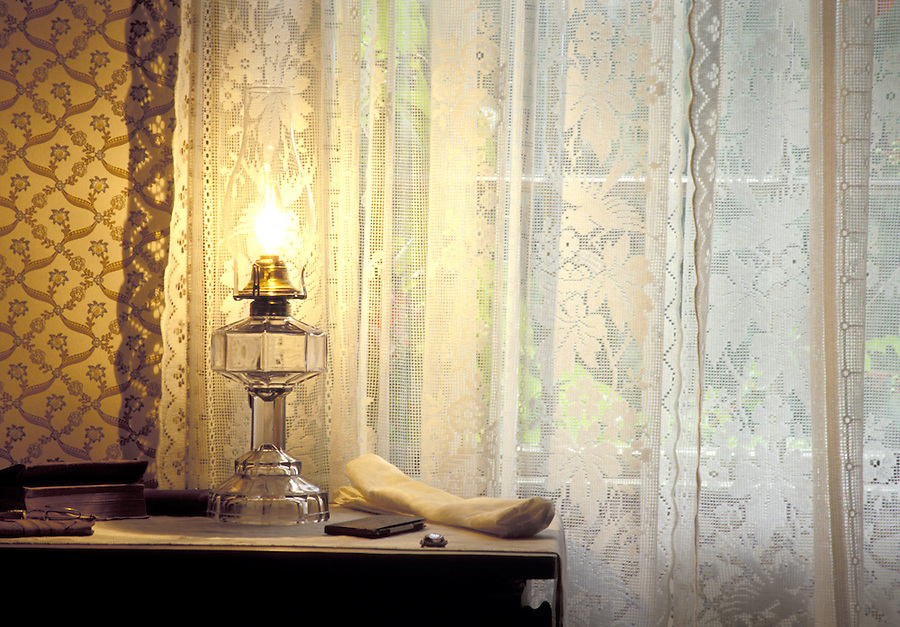 Lamp on dresser by window, Green Gables, Cavendish, Prince Edward Island National Park, Prince Edward Island, Canada
