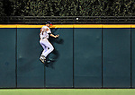13 September 2008: Cleveland Indians' outfielder Grady Sizemore jumps high but is unable to get to a Mark Teahen home run during a game against the Kansas City Royals at Progressive Field in Cleveland, Ohio. The Royals defeated the Indians 8-4 in the second game, sweeping their double-header...Mandatory Photo Credit: Ed Wolfstein Photo