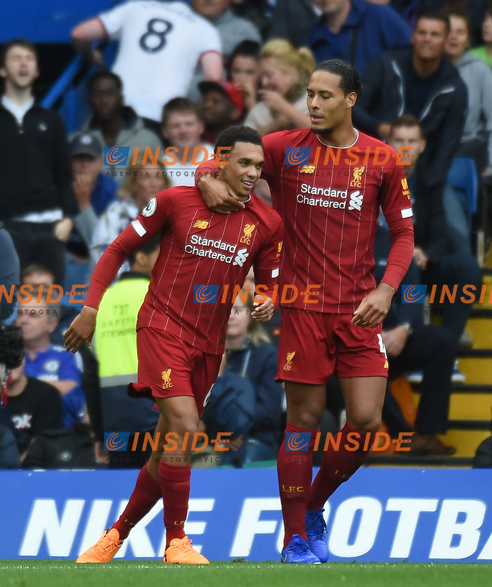 Trent Alexander-Arnold of Liverpool celebrates with Virgil van Dijk after scoring his side's first goal during the Premier League match between Chelsea and Liverpool at Stamford Bridge on September 22nd 2019 in London, England. (Photo by Zed Jameson/phcimages.com)<br /> Foto PHC/Insidefoto <br /> ITALY ONLY