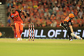 8th January 2018, The WACA, Perth, Australia; Australian Big Bash Cricket, Perth Scorchers versus Melbourne Renegades; Dwayne Bravo of the Melbourne Renegades kicks the ball onto the stumps to run out Ashton Turner of the Perth Scorchers
