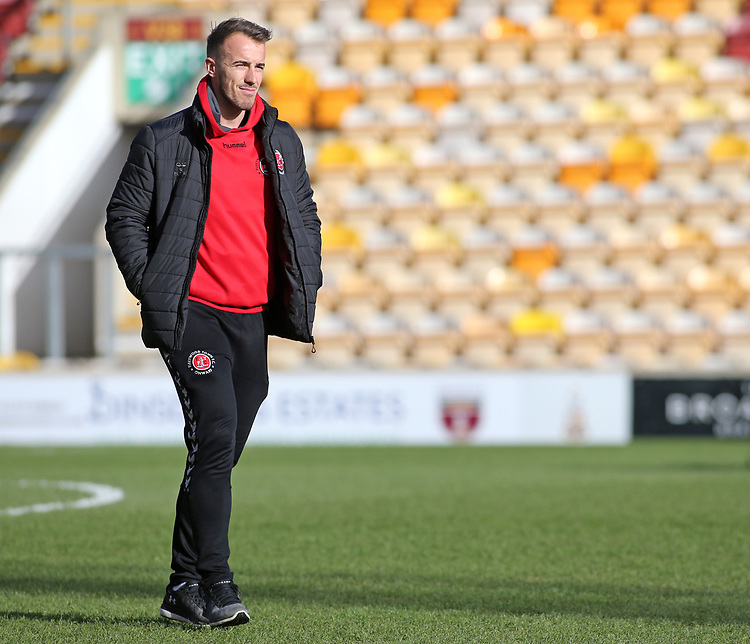 Fleetwood Town's Alex Cairns inspects the pitch before kick off<br /> <br /> Photographer David Shipman/CameraSport<br /> <br /> The EFL Sky Bet League One - Bradford City v Fleetwood Town - Saturday 9th February 2019 - Valley Parade - Bradford<br /> <br /> World Copyright © 2019 CameraSport. All rights reserved. 43 Linden Ave. Countesthorpe. Leicester. England. LE8 5PG - Tel: +44 (0) 116 277 4147 - admin@camerasport.com - www.camerasport.com