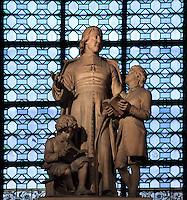 Statue of Saint Jean Baptiste de la Salle (St John Baptist de La Salle), 1651-1719, founder of Institute of the Brothers of the Christian Schools, Eglise Saint-Sulpice (St Sulpitius' Church), c.1646-1745, late Baroque church on the Left Bank, Paris, France. Picture by Manuel Cohen