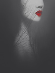Portrait of woman with red lips and montage of tree branches