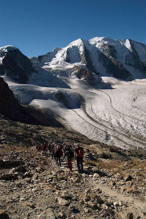Switzlerland: Hiking the Swiss Glaciers near St. Moritz, taking the Diavolezza Morteratsch hike..Start of the hike...Photo copyright Lee Foster, 510/549-2202, lee@fostertravel.com, www.fostertravel.com..Photo #: swisse11424