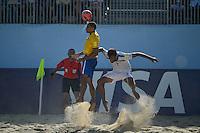 ESPINHO, PORTUGAL, 12.07.2015 - BEACH SOCCER-MUNDIAL - Rodrigo jogador do Brasil durante lance contra o Irã no Mundial da FIIFA de Futebol de Praia 2015, em Espinho, Portugal, neste domingo (Foto: Bruno de Carvalho/Brazil Photo Press)