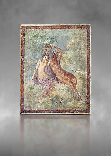 Roman Nero Period fresco wall painting of Perseus and Andromeda, from a house in the Insula Occidentalis at Pompeii , inv 9058 , Naples National Archaeological Museum