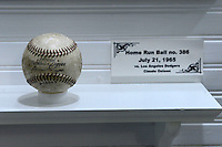 Display for home run ball number 386 in the childhood home of Hank Aaron, that has been turned into a museum and moved to a stadium location, before a Mobile BayBears a game against the Pensacola Blue Wahoos on April 14, 2013 at Hank Aaron Stadium in Mobile, Alabama.  Mobile defeated Pensacola 5-2.  (Mike Janes/Four Seam Images)