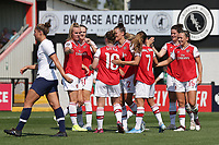 Jennifer Beattie of Arsenal scores the second goal for her team and celebrates with her team mates during Arsenal Women vs Tottenham Hotspur Women, Friendly Match Football at Meadow Park on 25th August 2019