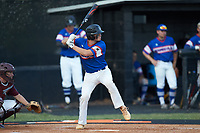 Cole Robbins (18) of Mooresville Post 66 at bat against Kannapolis Post 115 during an American Legion baseball game at Northwest Cabarrus High School on May 30, 2019 in Concord, North Carolina. Mooresville Post 66 defeated Kannapolis Post 115 4-3. (Brian Westerholt/Four Seam Images)
