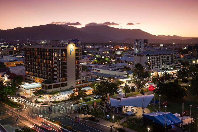 View of city skyline at dusk.  Cairns, Queensland, Australia