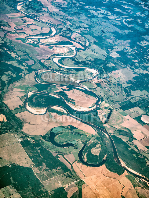 Red River meanders on the Texas-Arkansas border from a window seat
