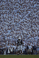 08 September 2007:  Penn State WR/PR Derrick Williams (2) with the student section fans first ever full stadium 'White Out' behind him. The Penn State Nittany Lions defeated the Notre Dame Fighting Irish 31-10 September 8, 2007 at Beaver Stadium in State College, PA..
