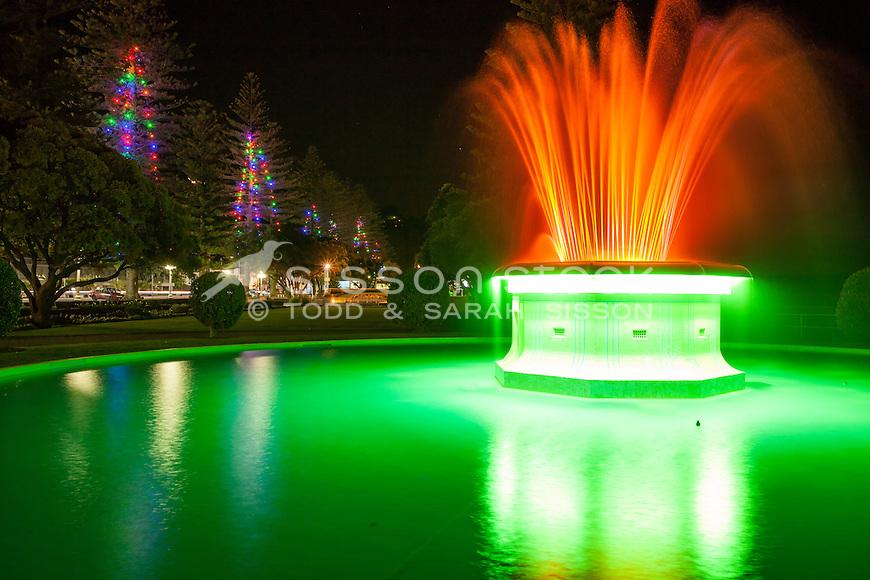 Night exposure of Tom Parker Fountain at night.  Marine Parade, Napier. Hawkes Bay New Zealand.