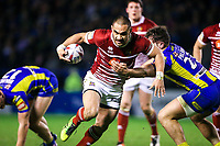 Picture by Alex Whitehead/SWpix.com - 09/03/2017 - Rugby League - Betfred Super League - Warrington Wolves v Wigan Warriors - Halliwell Jones Stadium, Warrington, England - Wigan's Thomas Leuluai is tackled by Warrington's Joe Philbin.