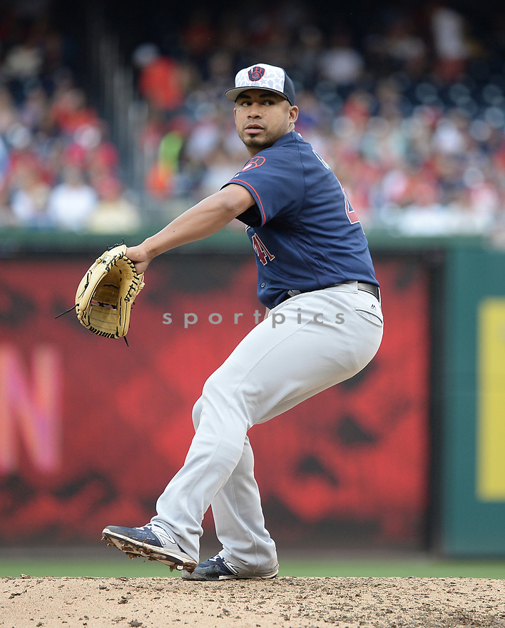 Milwaukee Brewers Junior Guerra (41) during a game against the Washington Nationals on July 4, 2016, at Nationals Park in Washington DC. The Brewers beat the Nationals 1-0.