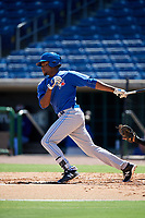 Toronto Blue Jays right fielder DJ Daniels (27) follows through on a swing during a Florida Instructional League game against the Philadelphia Phillies on September 24, 2018 at Spectrum Field in Clearwater, Florida.  (Mike Janes/Four Seam Images)