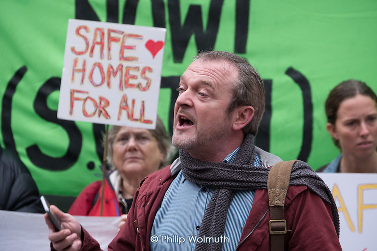 Phil Murphy, Safe Cladding and Insulation Now protest by Fuel Poverty Action, social housing tenants and leaseholders from Salford and London, MHCLG, London.
