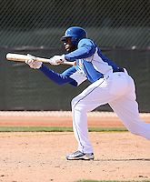 Lorenzo Cain #6 of the Kansas City Royals participates in spring training workouts at the Royals complex on February 21, 2011  in Surprise, Arizona. .Photo by:  Bill Mitchell/Four Seam Images.