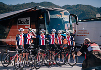 Team USA before the start<br /> <br /> MEN JUNIOR ROAD RACE<br /> Kufstein to Innsbruck: 132.4 km<br /> <br /> UCI 2018 Road World Championships<br /> Innsbruck - Tirol / Austria