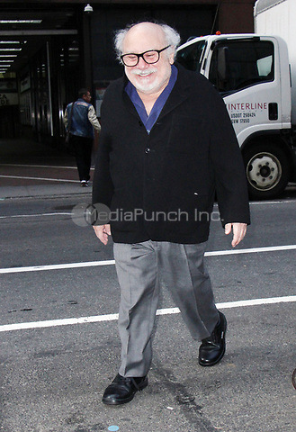 NEW YORK, NY - APRIL 13: Danny DeVito seen arriving to NBC's Today Show promoting his new Broadway play The Price on April 13,  2017 in New York City. Credit: RW/MediaPunch
