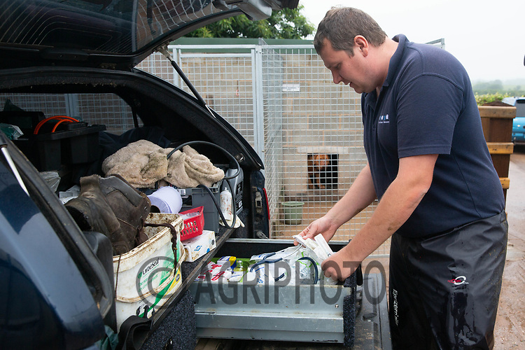 19.6.2020 A vet getting equipment from the back pf his pickup truck<br /> ©Tim Scrivener Photographer 07850 303986<br />      ....Covering Agriculture In The UK.
