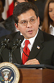 """Judge Alberto Gonzales, Assistant to the President and White House Counsel, makes remarks at the """"Celebration of National Hispanic Heritage Month"""" in the East Room of the White House in Washington, DC on October 12, 2001.<br /> Credit: Ron Sachs / CNP"""