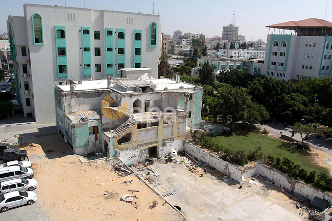 "A general view on the destroyed building "" the scientific laboratories building "" after the Israeli war on Gaza Strip, in Gaza City on Sept. 26,2010 .The Islamic University was bombed and destroyed the scientific laboratories building during the 22-day Israeli war on Gaza strip and still faces difficulty in the reconstruction because of the blockade . Photo by Mohammed Asad"