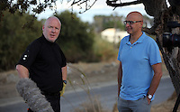 Pictured: Detective Inspector Jon Cousins of South Yorkshire Police with Nick Fagge of Mail online at the second site in Kos, Greece. Thursday 13 October 2016<br /> Re: Police teams led by South Yorkshire Police are searching for missing toddler Ben Needham on the Greek island of Kos.<br /> Ben, from Sheffield, was 21 months old when he disappeared on 24 July 1991 during a family holiday.<br /> Digging has begun at a new site after a fresh line of inquiry suggested he could have been crushed by a digger.