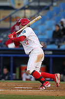 Reading Phillies catcher Sebastian Valle #12 during a game against the New Hampshire Fisher Cats at FirstEnergy Stadium on April 10, 2012 in Reading, Pennsylvania.  New Hampshire defeated Reading 3-2.  (Mike Janes/Four Seam Images)