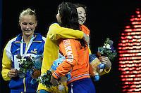 100 freestyle women<br /> SJOSTROM Sarah, Sweden SWE, silver medal<br /> CAMPBELL Cate, Australia AUS, gold medal<br /> KROMOWIDJOJO Ranomi, Netherlands NED, bronze medal<br /> Swimming - Nuoto <br /> Barcellona 2/8/2013 Palau St Jordi <br /> Barcelona 2013 15 Fina World Championships Aquatics <br /> Foto Andrea Staccioli Insidefoto